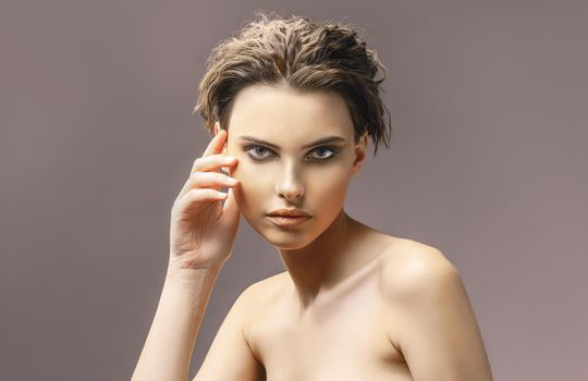 Portrait caucasian young woman with beautiful eyes. Attractive model.