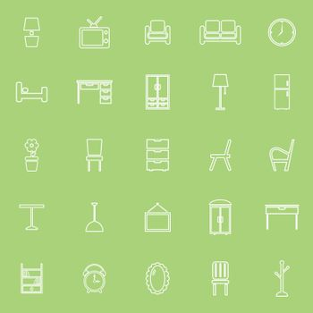 Furniture line icons on green background