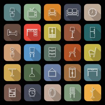 Furniture line flat icons with long shadow