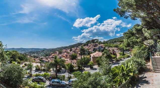 Panorama of Bormes-les-Mimosas typical village in the south of France