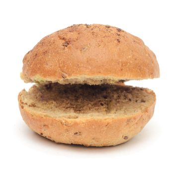 Burger bun with flax cut into two halves on one side isolated on white background.Funny burger bun.