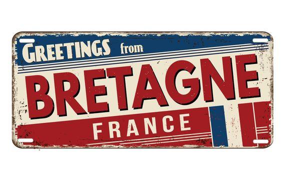 Greetings from Bretagne vintage rusty metal plate