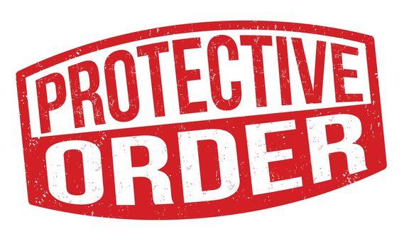 Protective order grunge rubber stamp