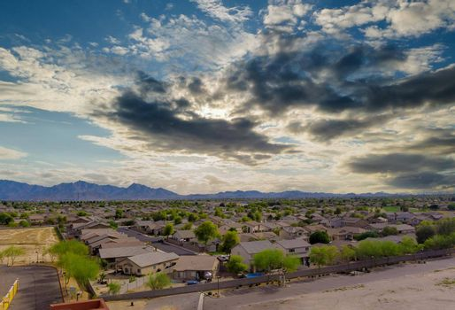 Panoramic view with Avondale town Arizona USA in neighbourhood family over suburban homes in residential area on desert