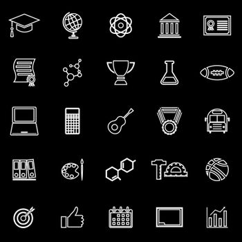 College line icons on black background