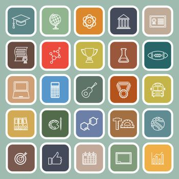 College line flat icons on green background