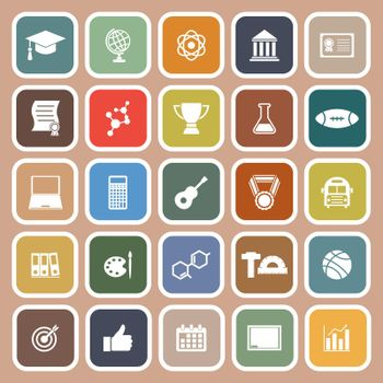 College flat icons on brown background