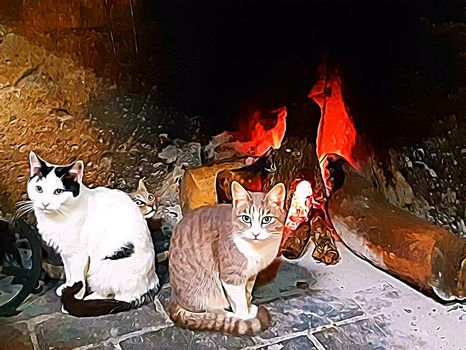 Digital painting style that represents young cats in white, black and brown spots warming up in front of the fireplace