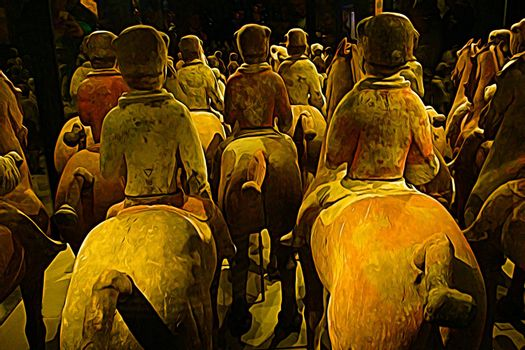 Digital painting style that represents the statues of ancient Chinese warriors on horseback seen from behind