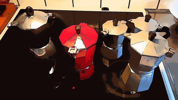 Digital drawing style representing mocha coffee machines