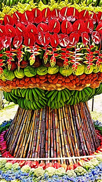 Digital painting that represents a composition of fruit, vegetables and flowers