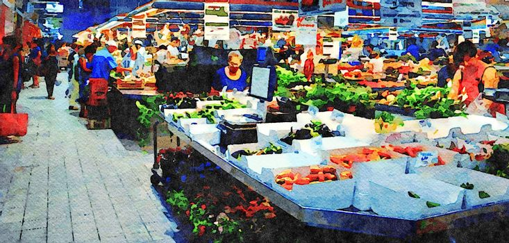 watercolorstyle which represents a fruit and vegetable market in Italy