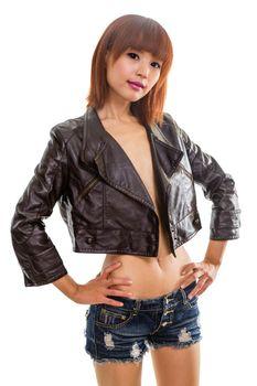 Asian woman wearing leather jacket isolated white background