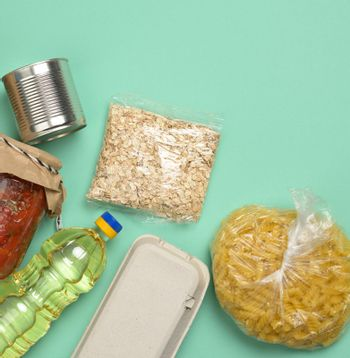 various products, pasta, sunflower oil in a plastic bottle and preservation