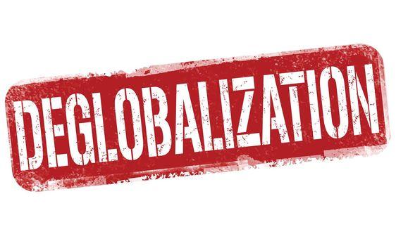 Deglobalization grunge rubber stamp