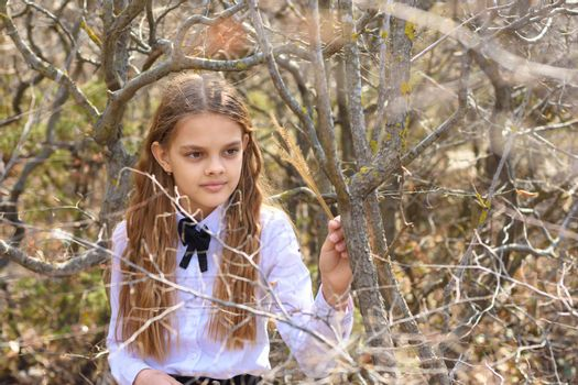 A girl in a white shirt and a bow tie around her neck walks through the spring forest, close-up portrait