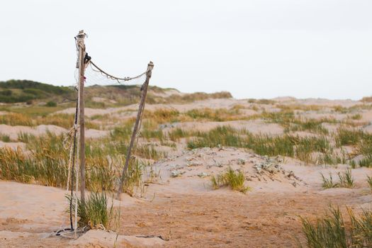 Neglected Beach Volleyball Net With Coastal Dunes