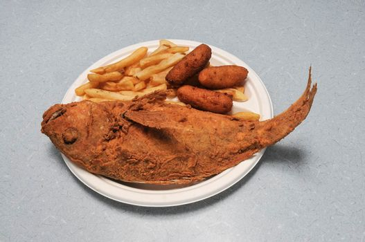 Delicious traditional cuisine known best as fried fish