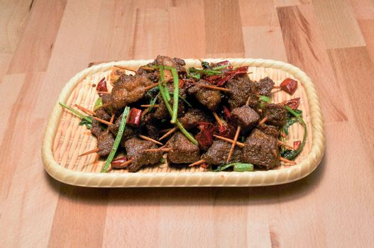 Delicious and traditional dish known as toothpick lamb
