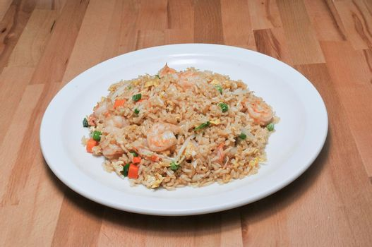 Authentic and traditional Chinese dish known as shrimp fried rice