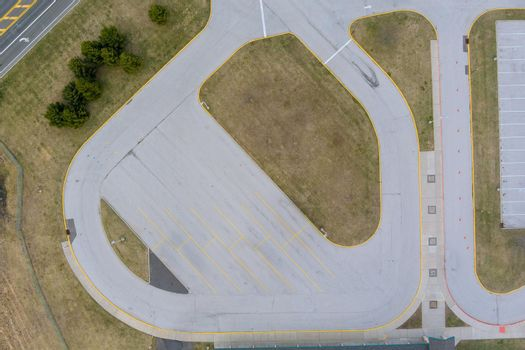 Parking space empty large car parking lots, aerial view