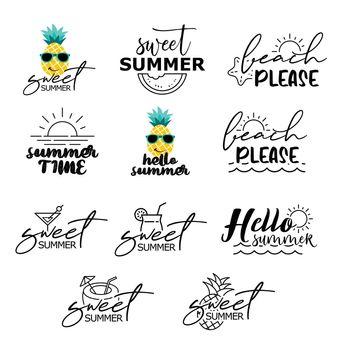 Summer labels set. Retro hand drawn elements for summer vintage style.