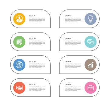 8 data infographics tab paper thin line index template. Vector illustration abstract background. Can be used for workflow layout, business step, banner, web design.
