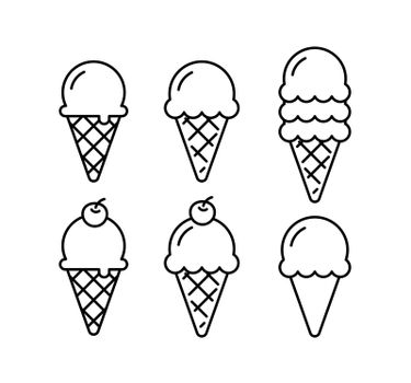 Ice cream cone doodle set. Waffle cone outline isolated.