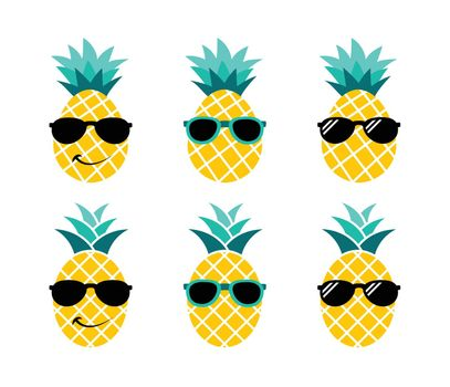 Pineapple with sunglasses. Summer vacation concept.