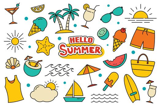 Hello summer collection set design on white background. Summer symbols and objects colorful.