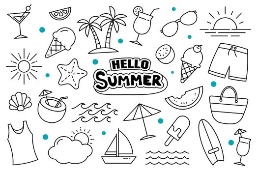 Hello summer doodle on white background. Summer hand drawn symbols and objects.
