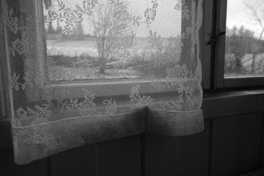 Vintage lace curtain, daylight