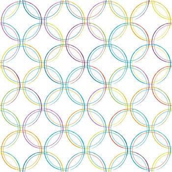 Seamless pattern of intersecting circles for textures, textiles, packaging and simple backgrounds. Flat style.