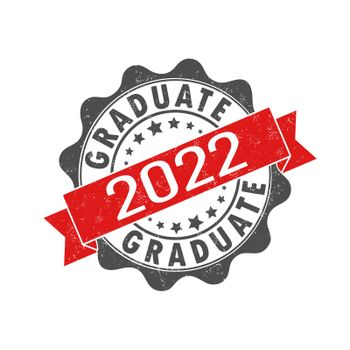 An impression of an old worn stamp with the inscription GRADUATE 2022. Vector illustration for thematic design, alumni meetings, diplomas and certificates. Simple style.