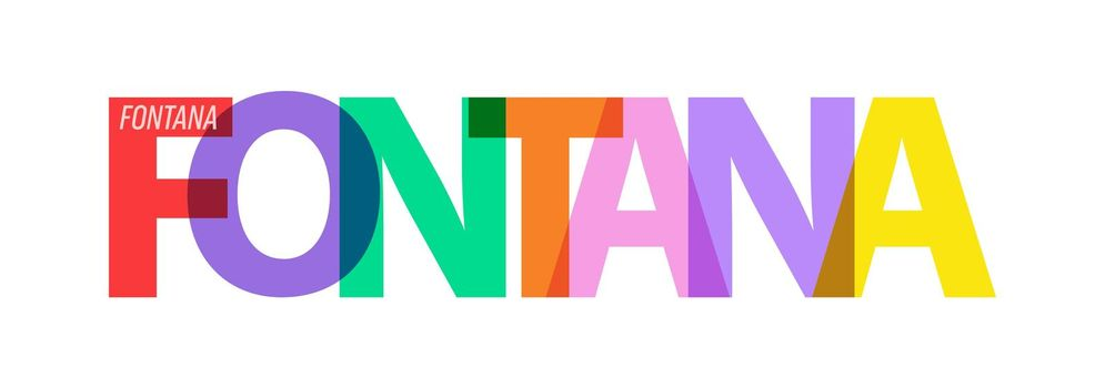 FONTANA. Lettering on a white background. Vector design template for poster, map, banner. Vector illustration.