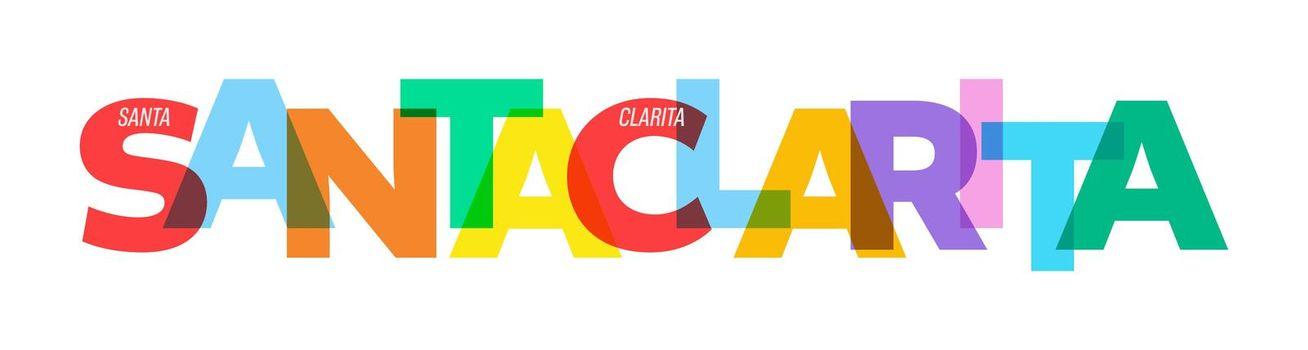 SANTA CLARITA. Lettering on a white background. Vector design template for poster, map, banner. Vector illustration.