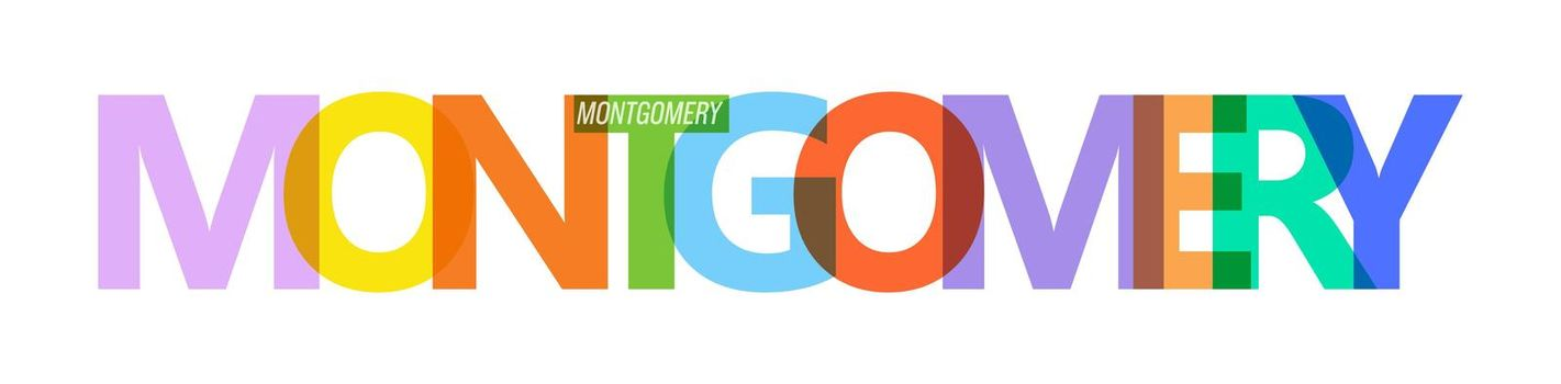 MONTGOMERY. Lettering on a white background. Vector design template for poster, map, banner. Vector illustration.