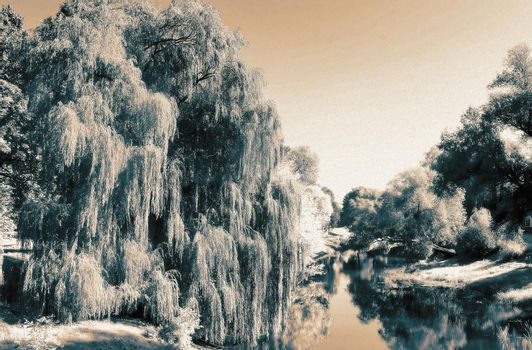 Landscape: a small, calm river, the water of which reflects the trees growing on the shore. The effect of infrared film.