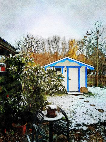 Digital watercolor style of a small blue and white wooden hut after a snowfall in northern Scandinavia