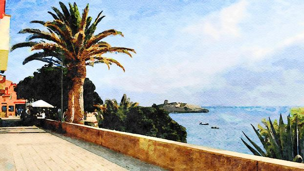 The seafront street of a small town in Sardinia in Italy. Digital painting.