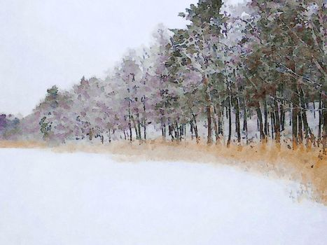 Digital watercolor style of a glimpse of the frozen lake shore in northern Scandinavia