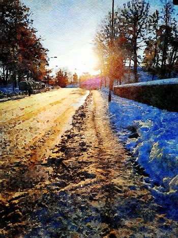 Digital watercolor style of a snowy road at sunset in northern Scandinavia