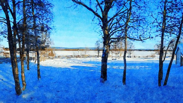 Digital watercolor style of a glimpse of the snowy fields in the north of Scandinavia