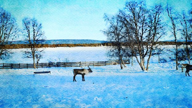 Digital watercolor style of some reindeer resting in the north of Scandinavia
