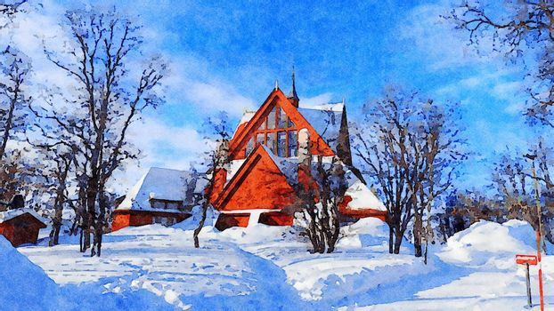 Digital watercolor style of a church after a snowfall in northern Scandinavia