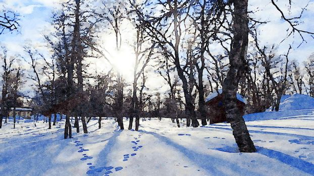 Digital watercolor style of a sunny winter day in the woods in the north of Scandinavia
