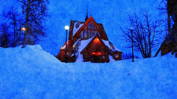 Digital watercolor style of an evening glimpse of a church during winter in northern Scandinavia