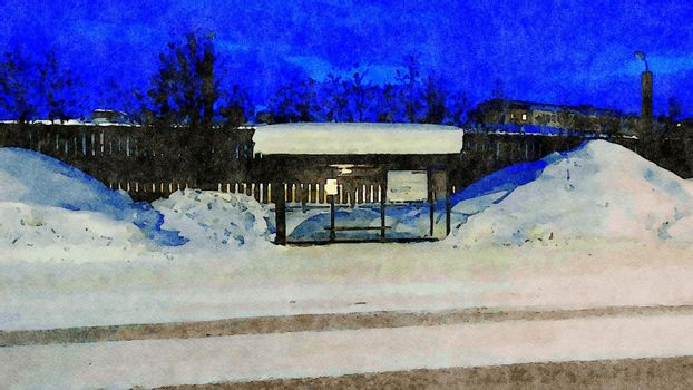 Digital watercolor style of a bus stop during the winter in northern Scandinavia