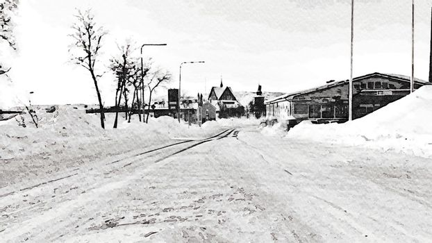 Black and white watercolor style of a glimpse of a road during the winter in the north of Scandinavia