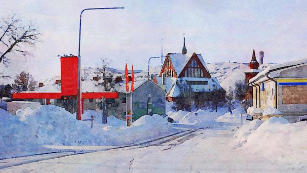 Digital watercolor style of a glimpse of a church during the winter in northern Scandinavia
